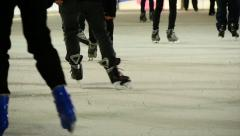 Winter fun activity background. sports recreation. ice skating rink background Stock Footage