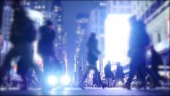 blurred background of people walking in the city at night - stock footage