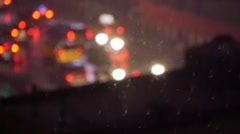 City traffic background at night. snow fall weather. cold breeze Stock Footage