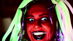 Laughing maniacly devil woman lady Stock Footage
