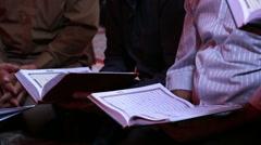 Muslims read Quran 753  Stock Footage