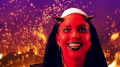 laughing nun evil - stock footage
