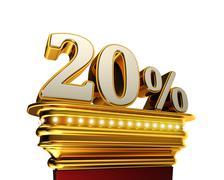 Twenty percent figure over white background - stock illustration
