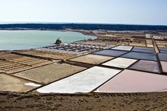 Salt piles on a saline exploration Stock Photos