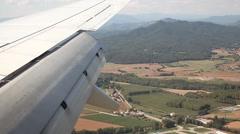 Airplane wing view landing - stock footage