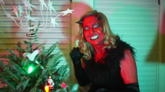 Scary krampus woman christmas 1 Stock Footage