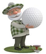 3d little man golfer Stock Illustration
