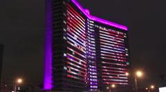 Illuminated skyscarper Stock Footage
