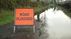 Road flooded traffic sign, hazard temporary sign Stock Footage