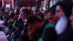 Servants crying for Imam Hussein inside Hussein's shrine, Karbala, Iraq 761 Stock Footage