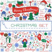 Doodle Christmas season icons and vintage graphic elements. Stock Illustration