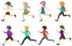 Running kids - stock illustration