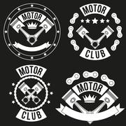 Stock Illustration of Set of Vintage Motor Club Signs and Label