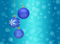 christmas ball baubles hanging against bokeh - stock illustration