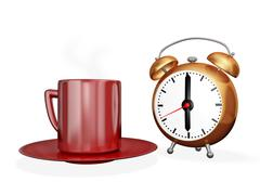 Tea coffee cup and alarm clock Stock Illustration