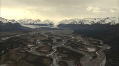 Aerial Alaska USA Landscape Peak glacier ice moraine Stock Footage
