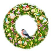 Green christmas wreath with decorations. EPS 10 Stock Illustration