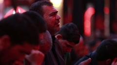 Shrine's servants mourning for Imam Hussein inside Hussein's shrine, Karbala 779 Stock Footage