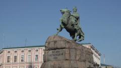 Famous monument of Bogdan Khmelnytsky at Sophievska square in Kiev, Ukraine Stock Footage