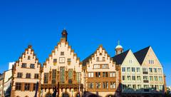 famous town hall at the central place in frankfurt, the roemer - stock photo