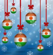 christmas background flags niger - stock illustration