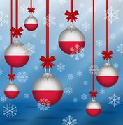 Stock Illustration of christmas background flags poland