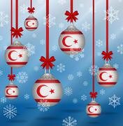 Christmas background flags northern cyprus Stock Illustration