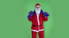 Santa using Xmas decoration green screen Stock Footage