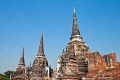 famous temple area wat phra si sanphet - stock photo