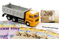 Purchase contract for new truck Stock Photos