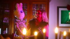 Devil woman creepy skeleton thing halloween Stock Footage