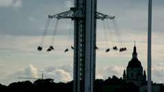 Silhouette Amusement Park Ride Stock Footage