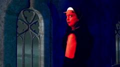 Evil nun in church Stock Footage