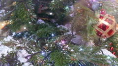 Christmas tree with lights and decoration Stock Footage