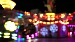 Carousel on amusement park (bokeh) Stock Footage