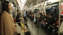People go inside the wagon Chinese subway Stock Footage