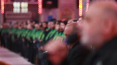 Servants of Imam Hussein's shrine do serving ceremony, Karbala, Iraq 796 Stock Footage