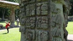 Maya ruins, guide explains hieroglyphs Stock Footage