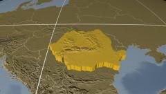 Romania extruded. Bumps. Graticule. Stock Footage