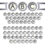 Typewriter buttons alphabet Stock Illustration