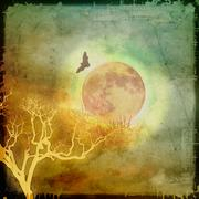 Flying bat and bare branches on full moon. - stock illustration