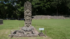 Statue Mayan ruins, Copan Honduras Stock Footage