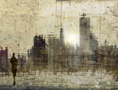 Vintage city skyline with small female figure Piirros