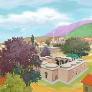 CITY 15TH CENTURY day time - stock illustration
