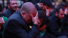 Shrine's servants crying for Imam Hussein inside Hussein's shrine, Karbala 789 Stock Footage