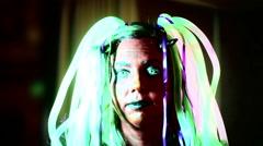 Halloween woman green hair Stock Footage