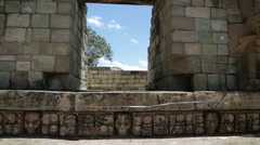 Entrance with hieroglyphs. Maya ruins in Honduras. Stock Footage