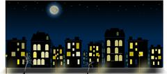 Simple night city panorama with nightsky and moon Stock Illustration