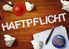 haftpflicht desktop memo calculator office think organize - stock illustration