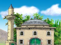 Stock Illustration of MOSQUE IN VILLAGE